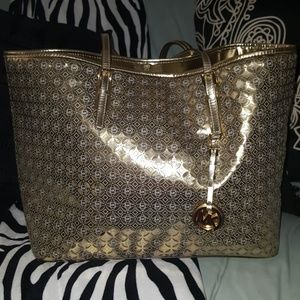GOLD MICHEL KORS LARGE BAG